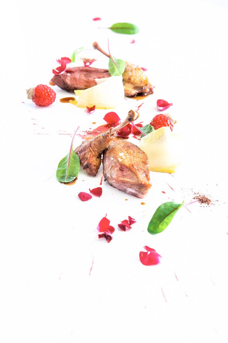 Piccione con frutti rossi, invidia e karkadè